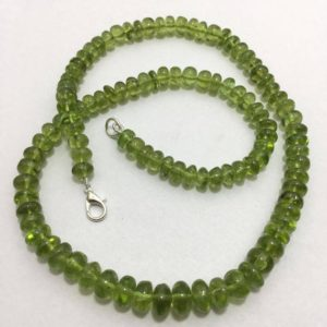 Shop Peridot Rondelle Beads! Natural Peridot Smooth Rondelle Beads With Clasp, 6.5mm To 9mm, 18 Inches, Green Beads, Gemstone Beads, Semiprecious Stone Beads | Natural genuine rondelle Peridot beads for beading and jewelry making.  #jewelry #beads #beadedjewelry #diyjewelry #jewelrymaking #beadstore #beading #affiliate #ad