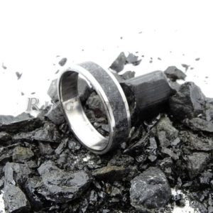 Shop Black Tourmaline Rings! Mothers day gift, Personalized Black Tourmaline Ring with Stainless Steel, Engraved Wedding Ring, Hypoallergenic Ring, Gift for Him | Natural genuine Black Tourmaline rings, simple unique alternative gemstone engagement rings. #rings #jewelry #bridal #wedding #jewelryaccessories #engagementrings #weddingideas #affiliate #ad