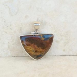 Shop Pietersite Pendants! Pietersite Silver Pendant for Men, Brown Gemstone Silver Pendant, Fathers Day Gift, Gift for Him | Natural genuine Pietersite pendants. Buy handcrafted artisan men's jewelry, gifts for men.  Unique handmade mens fashion accessories. #jewelry #beadedpendants #beadedjewelry #shopping #gift #handmadejewelry #pendants #affiliate #ad