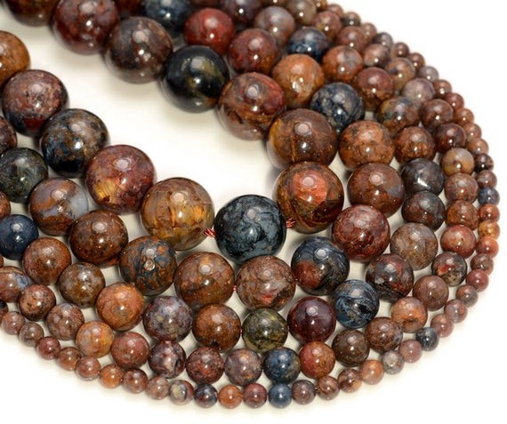 Genuine African Pietersite Gemstone Grade Aa Blue Brown Red 4mm 6mm 8mm 10mm 12mm Round Loose Beads Full Strand (a207)