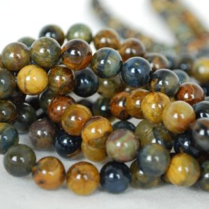 "High Quality Grade A Natural Golden Pietersite Semi-precious Gemstone Round Beads – 6mm, 8mm, 10mm Sizes – Approx 15.5"" Strand 