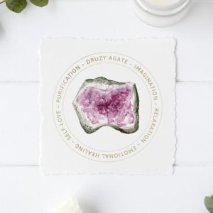 Shop Printable Crystal Cards, Pages, & Posters! Pink Druzy Agate Jewelry Display Card – Druzy Agate Meaning – Printable – Gemstone Jewelry Card – Gift Box Tag – Purification Stone | Shop jewelry making and beading supplies, tools & findings for DIY jewelry making and crafts. #jewelrymaking #diyjewelry #jewelrycrafts #jewelrysupplies #beading #affiliate #ad
