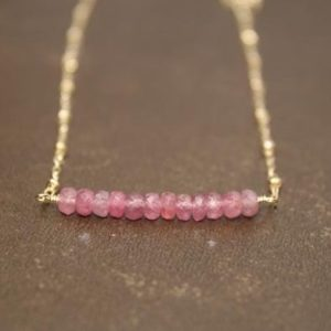 Shop Pink Sapphire Necklaces! Pink Sapphire Necklace, Bar Necklace, Pink Sapphire Jewelry, Gold Filled Beaded Chain, Gemstone Jewelry,   Natural genuine Pink Sapphire necklaces. Buy crystal jewelry, handmade handcrafted artisan jewelry for women.  Unique handmade gift ideas. #jewelry #beadednecklaces #beadedjewelry #gift #shopping #handmadejewelry #fashion #style #product #necklaces #affiliate #ad