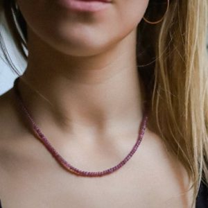 Shop Pink Sapphire Necklaces! Pink Sapphire Necklace   Smooth Beaded Gemstone Necklace   Sapphire Necklace   Pink Sapphire beaded necklace   smooth pink sapphire   Natural genuine Pink Sapphire necklaces. Buy crystal jewelry, handmade handcrafted artisan jewelry for women.  Unique handmade gift ideas. #jewelry #beadednecklaces #beadedjewelry #gift #shopping #handmadejewelry #fashion #style #product #necklaces #affiliate #ad