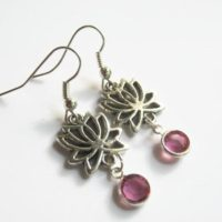 Lotus Birthstone Earrings, October Pink Tourmaline Rose Earrings, Personalized Lotus Flower Earrings, Buddhist Jewelry, Pink And Silver | Natural genuine Gemstone jewelry. Buy crystal jewelry, handmade handcrafted artisan jewelry for women.  Unique handmade gift ideas. #jewelry #beadedjewelry #beadedjewelry #gift #shopping #handmadejewelry #fashion #style #product #jewelry #affiliate #ad