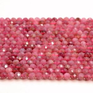 Shop Pink Tourmaline Faceted Beads! 2mm Pink Tourmaline Gemstone Rubylite Grade Aaa Micro Faceted Round Loose Beads 15.5 Inch Full Strand (80007153-a244) | Natural genuine faceted Pink Tourmaline beads for beading and jewelry making.  #jewelry #beads #beadedjewelry #diyjewelry #jewelrymaking #beadstore #beading #affiliate #ad