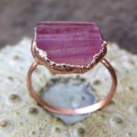 Rough Tourmaline Ring | Pink Tourmaline Copper Ring | Strawberry Tourmaline Electroformed Ring | Natural genuine Gemstone jewelry. Buy crystal jewelry, handmade handcrafted artisan jewelry for women.  Unique handmade gift ideas. #jewelry #beadedjewelry #beadedjewelry #gift #shopping #handmadejewelry #fashion #style #product #jewelry #affiliate #ad