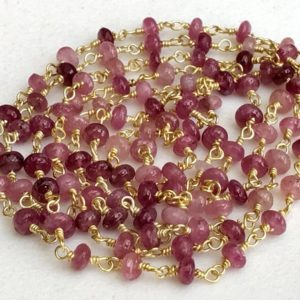 3.5-4mm Pink Tourmaline Wire Wrapped Plain Rondelle Beads, Rosary Style Beaded Chain, Gold Polish Connectoe Chain (1Foot To 5Feet Options) | Natural genuine rondelle Pink Tourmaline beads for beading and jewelry making.  #jewelry #beads #beadedjewelry #diyjewelry #jewelrymaking #beadstore #beading #affiliate #ad