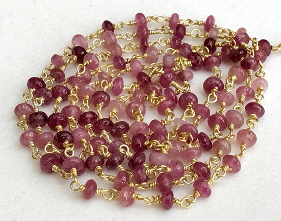 3.5-4mm Pink Tourmaline Wire Wrapped Plain Rondelle Beads, Rosary Style Beaded Chain, Gold Polish Connectoe Chain (1foot To 5feet Options)