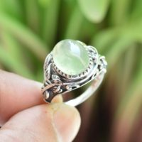Natural Prehnite Ring, Oxidized Ring, Sterling Silver Rings, Women Rings, 10×12 Mm Oval Prehnite Ring, Prehnite Ring, Gemstone Ring Jewelry | Natural genuine Gemstone jewelry. Buy crystal jewelry, handmade handcrafted artisan jewelry for women.  Unique handmade gift ideas. #jewelry #beadedjewelry #beadedjewelry #gift #shopping #handmadejewelry #fashion #style #product #jewelry #affiliate #ad