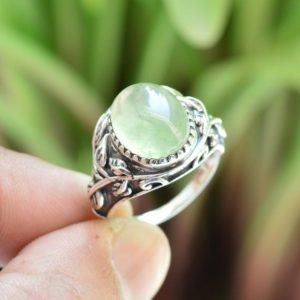 Shop Prehnite Rings! Prehnite Ring ~ 925 Sterling Silver Ring ~ 10×12 mm Oval Prehnite Ring ~ Statement Ring ~ Handmade Ring ~ Green Gemstone Ring ~ Women's Ring | Natural genuine Prehnite rings, simple unique handcrafted gemstone rings. #rings #jewelry #shopping #gift #handmade #fashion #style #affiliate #ad