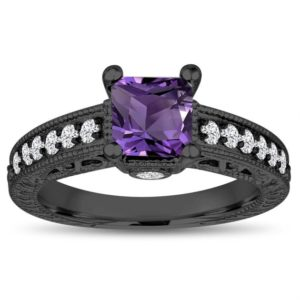 Princess Cut Amethyst Engagement Ring, 1.35 Carat 14k Black Gold Unique Vintage Antique Style Handmade Certified | Natural genuine Array rings, simple unique alternative gemstone engagement rings. #rings #jewelry #bridal #wedding #jewelryaccessories #engagementrings #weddingideas #affiliate #ad