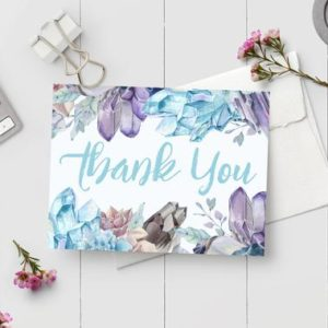 Shop Printable Crystal Cards, Pages, & Posters! Printable Thank You Card – Instant Download PDF Watercolor Geode Crystals Thank You Note – Cut and Fold Note Card | Shop jewelry making and beading supplies, tools & findings for DIY jewelry making and crafts. #jewelrymaking #diyjewelry #jewelrycrafts #jewelrysupplies #beading #affiliate #ad