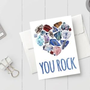 Shop Printable Crystal Cards, Pages, & Posters! Printable Thinking of You Card – You Rock Editable Card Template – Print-at-Home Crystal Gemstone Greeting Card Instant Download JPG or PNG | Shop jewelry making and beading supplies, tools & findings for DIY jewelry making and crafts. #jewelrymaking #diyjewelry #jewelrycrafts #jewelrysupplies #beading #affiliate #ad
