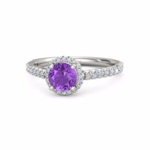 Purple diamond engagement ring white gold amethyst engagement ring, halo amethyst engagement ring, amethyst and diamond engagement ring | Natural genuine Array rings, simple unique alternative gemstone engagement rings. #rings #jewelry #bridal #wedding #jewelryaccessories #engagementrings #weddingideas #affiliate #ad