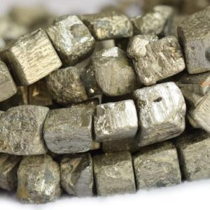 "15.5"" Natural Pyrite cube nugget 13~16mm, High quality dark yellow gold color nugget beads, dark yellow color Gemstone cube nugget,~25 beads 