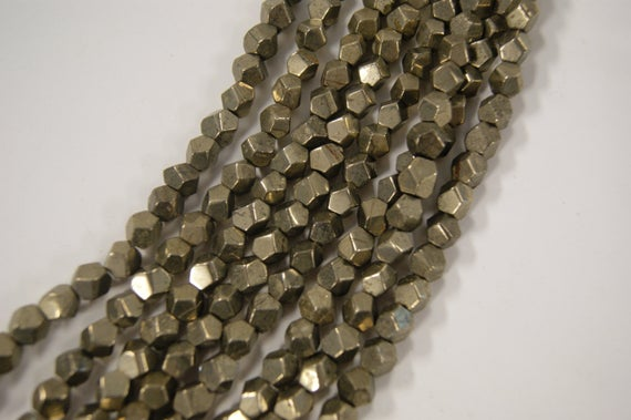 Pyrite 4-10mm Nugget Shaped Natural Gemstone Beads -- 15 Inch Strand