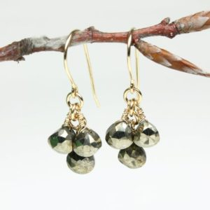 Shop Pyrite Earrings! Pyrite Gold Filled Earrings wire wrapped natural golden gemstones boho chic dangle cluster drops birthday gift mom wife girlfriend 5832 | Natural genuine Pyrite earrings. Buy crystal jewelry, handmade handcrafted artisan jewelry for women.  Unique handmade gift ideas. #jewelry #beadedearrings #beadedjewelry #gift #shopping #handmadejewelry #fashion #style #product #earrings #affiliate #ad