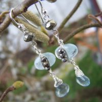 Moss Aquamarine Briolette, Nugget Pyrite, Pyrite Rondelle Sterling Silver Wrap, French Earwire, Earrings | Natural genuine Gemstone jewelry. Buy crystal jewelry, handmade handcrafted artisan jewelry for women.  Unique handmade gift ideas. #jewelry #beadedjewelry #beadedjewelry #gift #shopping #handmadejewelry #fashion #style #product #jewelry #affiliate #ad