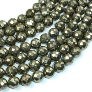 Shop Pyrite Faceted Beads! Pyrite Beads, Faceted Round, 10 mm, 15.5 Inch, Full strand, Approx 42 beads, Hole 1 mm (361025004) | Natural genuine faceted Pyrite beads for beading and jewelry making.  #jewelry #beads #beadedjewelry #diyjewelry #jewelrymaking #beadstore #beading #affiliate #ad