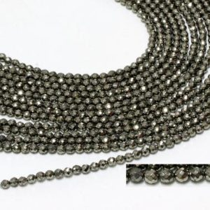 """Shop Pyrite Faceted Beads! GU-6092-1 – A Grade Pyrite Faceted Rounds – 64 Facetes – 4mm – Gemstone Beads – 16"""" Full Strand 
