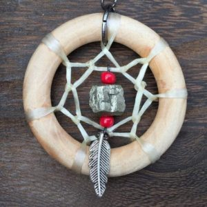 Shop Pyrite Necklaces! Wooden Dream Catcher Necklace With Pyrite Handmade Dreamcatcher Jewelry | Natural genuine Pyrite necklaces. Buy crystal jewelry, handmade handcrafted artisan jewelry for women.  Unique handmade gift ideas. #jewelry #beadednecklaces #beadedjewelry #gift #shopping #handmadejewelry #fashion #style #product #necklaces #affiliate #ad