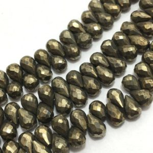 "Shop Pyrite Bead Shapes! 180 Carat Pyrite Faceted Side Drilled Drops 6×8 to 8×10 mm 8""/Gemstone Beads/Semi Precious Beads/Pyrite Beads/Faceted Beads/Drop Beads 