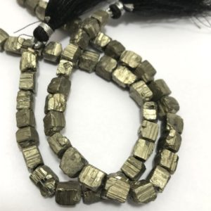 Shop Pyrite Bead Shapes! Natural Pyrite Cube Beads, 6mm To 9mm, 8 Inches, Gemstone Beads, Semiprecious Stone Beads, Rare Beads | Natural genuine other-shape Pyrite beads for beading and jewelry making.  #jewelry #beads #beadedjewelry #diyjewelry #jewelrymaking #beadstore #beading #affiliate #ad