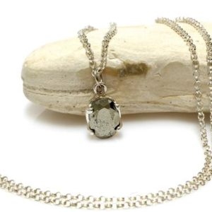 Shop Pyrite Pendants! Pyrite Stone Necklace, grey Pendant Necklace, silver Chain Necklace, bridal Necklace, bridesmaid Gifts, maid Of Honor Jewelry | Natural genuine Pyrite pendants. Buy handcrafted artisan wedding jewelry.  Unique handmade bridal jewelry gift ideas. #jewelry #beadedpendants #gift #crystaljewelry #shopping #handmadejewelry #wedding #bridal #pendants #affiliate #ad