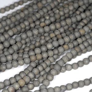Shop Pyrite Round Beads! 4MM Matte Pyrite Gemstones Round 4MM Loose Beads 15.5 inch Full Strand (80000578-279) | Natural genuine round Pyrite beads for beading and jewelry making.  #jewelry #beads #beadedjewelry #diyjewelry #jewelrymaking #beadstore #beading #affiliate #ad