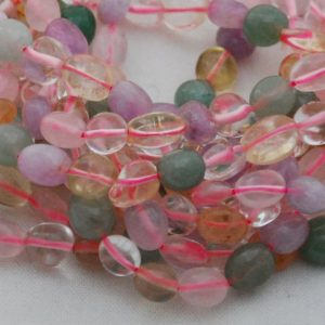 """Shop Quartz Chip & Nugget Beads! High Quality Grade A Natural Mixed pastel Colour Quartz Semi-precious Gemstone Pebble Tumbled stone Nugget Beads approx 7mm-10mm – 15"""" 