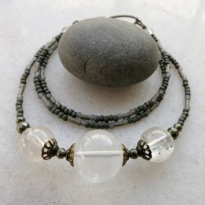 Shop Quartz Crystal Necklaces! White Quartz Sphere Necklace, milky white clear crystal trio jewelry, rustic earthy quartz orb necklace with three white stones | Natural genuine Quartz necklaces. Buy crystal jewelry, handmade handcrafted artisan jewelry for women.  Unique handmade gift ideas. #jewelry #beadednecklaces #beadedjewelry #gift #shopping #handmadejewelry #fashion #style #product #necklaces #affiliate #ad