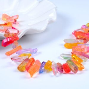 Shop Quartz Crystal Bead Shapes! Natural Crystal Quartz Point Beads.mix Color Crystal Quartz Point.beautiful Crystal Beads.good Quality Crystal Point Beads.top Drilled Beads | Natural genuine other-shape Quartz beads for beading and jewelry making.  #jewelry #beads #beadedjewelry #diyjewelry #jewelrymaking #beadstore #beading #affiliate #ad