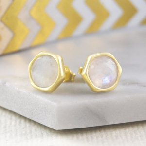 Shop Rainbow Moonstone Earrings! Gold Moonstone Earrings, Stud Earrings, Rainbow Moonstone, Gold Stud Earring, Round Earrings, Gemstone Stud Earrings, Natural Stone Earrings | Natural genuine Rainbow Moonstone earrings. Buy crystal jewelry, handmade handcrafted artisan jewelry for women.  Unique handmade gift ideas. #jewelry #beadedearrings #beadedjewelry #gift #shopping #handmadejewelry #fashion #style #product #earrings #affiliate #ad