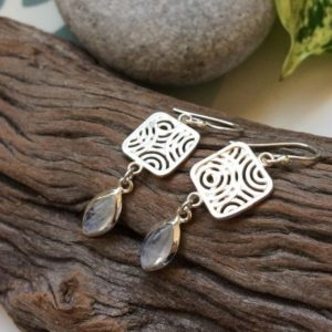 Shop Rainbow Moonstone Earrings! Moonstone silver earrings, Rainbow Moonstone long earrings, Filigree earrings, sterling silver jewelry, Tribal earrings, Square and drops | Natural genuine Rainbow Moonstone earrings. Buy crystal jewelry, handmade handcrafted artisan jewelry for women.  Unique handmade gift ideas. #jewelry #beadedearrings #beadedjewelry #gift #shopping #handmadejewelry #fashion #style #product #earrings #affiliate #ad
