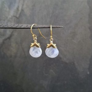 Shop Rainbow Moonstone Earrings! White rainbow moonstone earrings, natural gemstone dangle, teardrop drop, genuine moonstone, white and translucent color | Natural genuine Rainbow Moonstone earrings. Buy crystal jewelry, handmade handcrafted artisan jewelry for women.  Unique handmade gift ideas. #jewelry #beadedearrings #beadedjewelry #gift #shopping #handmadejewelry #fashion #style #product #earrings #affiliate #ad