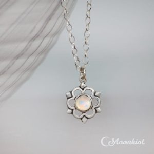 Shop Rainbow Moonstone Necklaces! Dainty Flower Necklace, Rainbow Moonstone Necklace, Sterling Silver Pendant Necklace, June Birthstone | Moonkist Designs | Natural genuine Rainbow Moonstone necklaces. Buy crystal jewelry, handmade handcrafted artisan jewelry for women.  Unique handmade gift ideas. #jewelry #beadednecklaces #beadedjewelry #gift #shopping #handmadejewelry #fashion #style #product #necklaces #affiliate #ad