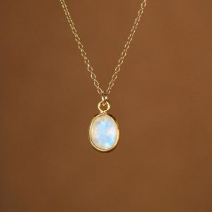 Shop Rainbow Moonstone Necklaces! Moonstone necklace – minimalist – everyday – rainbow moonstone – blue flash – a 22k gold lined oval moonstone on a 14k gold vermeil chain | Natural genuine Rainbow Moonstone necklaces. Buy crystal jewelry, handmade handcrafted artisan jewelry for women.  Unique handmade gift ideas. #jewelry #beadednecklaces #beadedjewelry #gift #shopping #handmadejewelry #fashion #style #product #necklaces #affiliate #ad