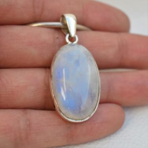 Shop Rainbow Moonstone Pendants! Natural Rainbow Moonstone Pendant- Blue Fire Moonstone Pendant-Handmade Silver Pendant-925 Sterling Silver Pendant-Oval Moonstone Pendant | Natural genuine Rainbow Moonstone pendants. Buy crystal jewelry, handmade handcrafted artisan jewelry for women.  Unique handmade gift ideas. #jewelry #beadedpendants #beadedjewelry #gift #shopping #handmadejewelry #fashion #style #product #pendants #affiliate #ad