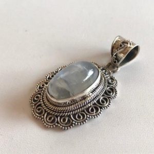 Shop Rainbow Moonstone Pendants! Rainbow Moonstone Pendant – Moonstone & Silver Pendant – Gemstone Pendant | Natural genuine Rainbow Moonstone pendants. Buy crystal jewelry, handmade handcrafted artisan jewelry for women.  Unique handmade gift ideas. #jewelry #beadedpendants #beadedjewelry #gift #shopping #handmadejewelry #fashion #style #product #pendants #affiliate #ad