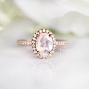 Shop Rainbow Moonstone Rings! Rainbow Moonstone Ring- 14K Rose Gold Vermeil Ring- Engagement Promise Ring- Natural Moonstone- June Birthstone- Anniversary Gift For Her | Natural genuine Rainbow Moonstone rings, simple unique alternative gemstone engagement rings. #rings #jewelry #bridal #wedding #jewelryaccessories #engagementrings #weddingideas #affiliate #ad