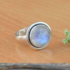 Shop Rainbow Moonstone Rings! AAA Rainbow Moonstone Gemstone Ring, Moonstone Ring, Solid 925 Sterling Silver Ring, June Birthstone Ring, All Specified Ring Sizes Availabl | Natural genuine Rainbow Moonstone rings, simple unique handcrafted gemstone rings. #rings #jewelry #shopping #gift #handmade #fashion #style #affiliate #ad