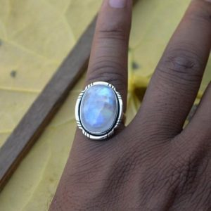 Shop Rainbow Moonstone Rings! Beautiful Misty Rainbow Moonstone Gemstone Ring,Handmade Jewelry,Solid 925 Sterling Silver Rainbow Moonstone Ring,Flashy Blue Birthday Ring | Natural genuine Rainbow Moonstone rings, simple unique handcrafted gemstone rings. #rings #jewelry #shopping #gift #handmade #fashion #style #affiliate #ad
