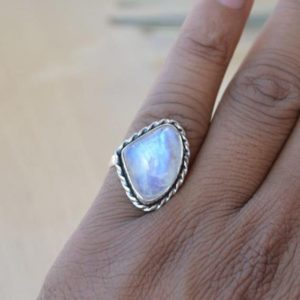 Shop Rainbow Moonstone Rings! Blue Flashy Misty Rainbow Moonstone Ring,Solid 925 Sterling Silver Designer Moonstone Ring,Handmade Jewelry Ring,Birthstone Gift Ring | Natural genuine Rainbow Moonstone rings, simple unique handcrafted gemstone rings. #rings #jewelry #shopping #gift #handmade #fashion #style #affiliate #ad