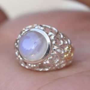 Shop Rainbow Moonstone Rings! Designer Rainbow Moonstone Ring,Solid 925 Sterling Silver Moonstone Men's Ring,Handmade Jewelry Gift Ring,Blue flash Boys Birthstone Ring | Natural genuine Rainbow Moonstone rings, simple unique handcrafted gemstone rings. #rings #jewelry #shopping #gift #handmade #fashion #style #affiliate #ad