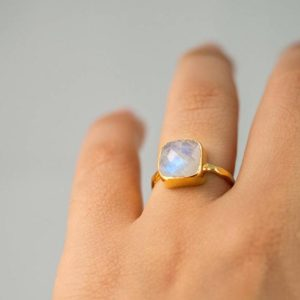 Shop Rainbow Moonstone Rings! Rainbow Moonstone Ring Gold, June Birthstone Ring, Gemstone Ring, Stacking Ring, Silver Ring, Cushion Cut Ring, Unique Gift for Her, RG-SQ | Natural genuine Rainbow Moonstone rings, simple unique handcrafted gemstone rings. #rings #jewelry #shopping #gift #handmade #fashion #style #affiliate #ad