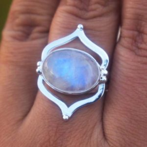 Shop Rainbow Moonstone Rings! Natural AAA Vibrant Rainbow Moonstone Ring,Natural Moonstone Ring,Solid Sterling Silver Handmade Designer Ring,Rainbow Ring,Christmas Gift | Natural genuine Rainbow Moonstone rings, simple unique handcrafted gemstone rings. #rings #jewelry #shopping #gift #handmade #fashion #style #affiliate #ad