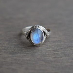 Shop Rainbow Moonstone Rings! Natural Rainbow Moonstone Ring-Blue Fire Moonstone Ring-Handmade Silver Ring-925 Sterling Silver-Oval Moonstone Designer Ring-Promise Ring | Natural genuine Rainbow Moonstone rings, simple unique handcrafted gemstone rings. #rings #jewelry #shopping #gift #handmade #fashion #style #affiliate #ad