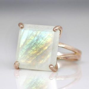 Shop Rainbow Moonstone Rings! Rare moonstone ring,square ring,rainbow moonstone ring,rose gold ring,gemstone ring,women rose ring,gold rings | Natural genuine Rainbow Moonstone rings, simple unique handcrafted gemstone rings. #rings #jewelry #shopping #gift #handmade #fashion #style #affiliate #ad