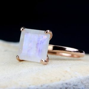 Shop Healing Gemstone Rings! Rose gold ring,rainbow moonstone ring,square ring,prong ring,solitaire ring,gemstone ring,semiprecious ring,pink gold ring | Natural genuine Gemstone rings, simple unique handcrafted gemstone rings. #rings #jewelry #shopping #gift #handmade #fashion #style #affiliate #ad